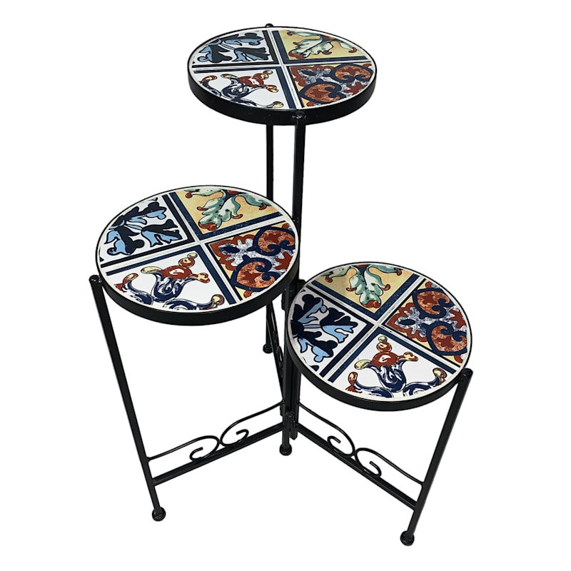 Multi 3 Tier Foldable Mosaic Metal Plant Stand