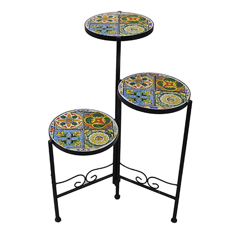 3 Tier Foldable Mosaic Plant Stand Yellow