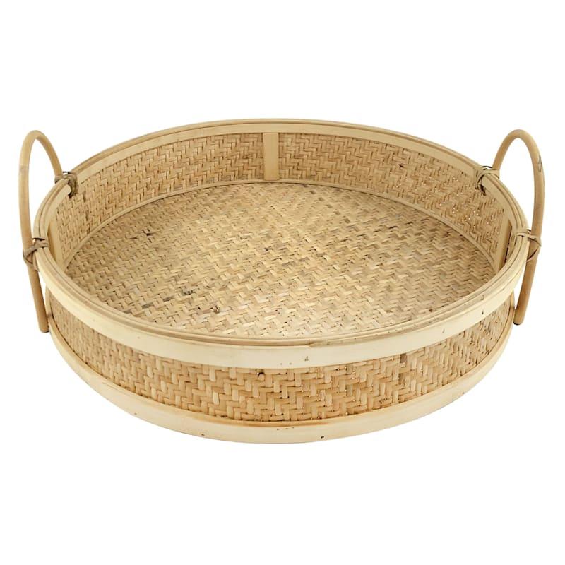 14in. Rattan Round Natural Tray