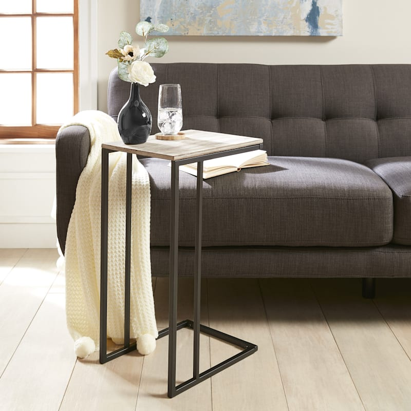 Wood Top C Table With Grey Metal Base Rustic