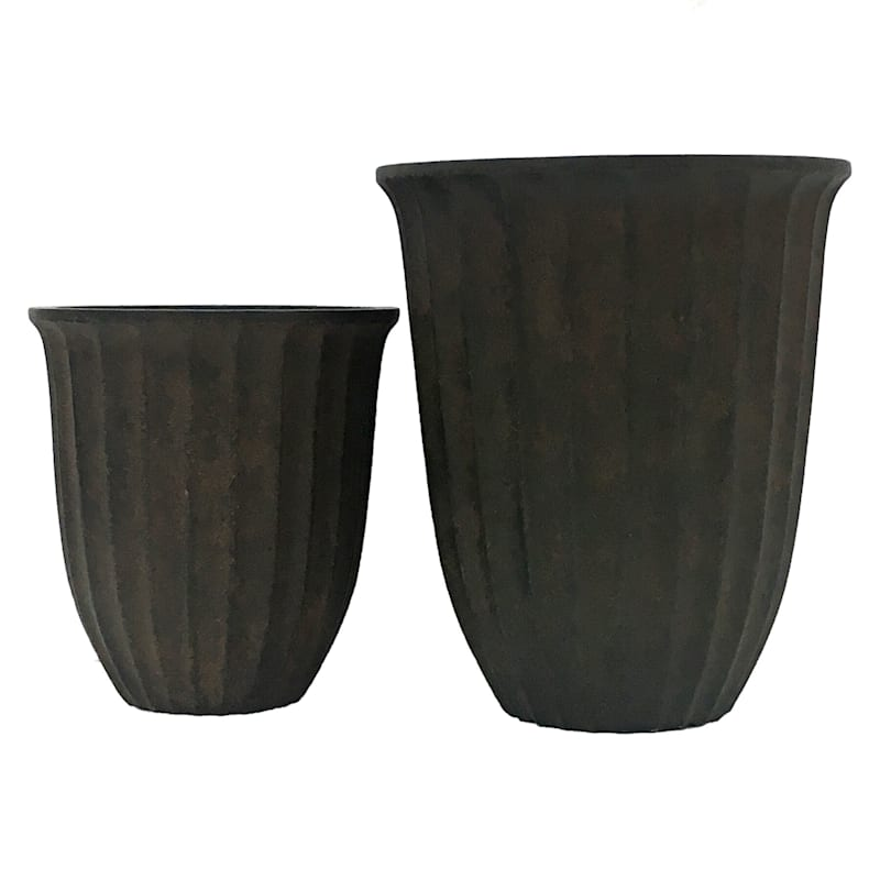 22in. Indoor Outdoor Synthetic Polystone Dark Brown Vertical Ridges Planter