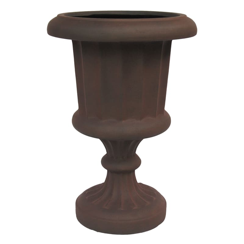 26in. Indoor Outdoor Synthetic Polystone Brown Fluted Design Urn