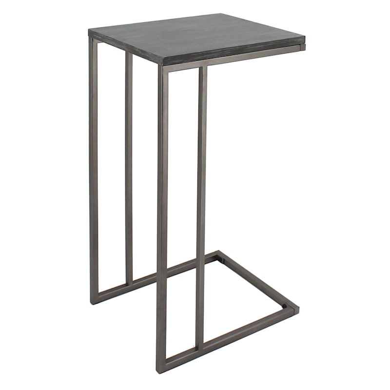 Wood Top C Table With Gunmetal Metal Base Grey