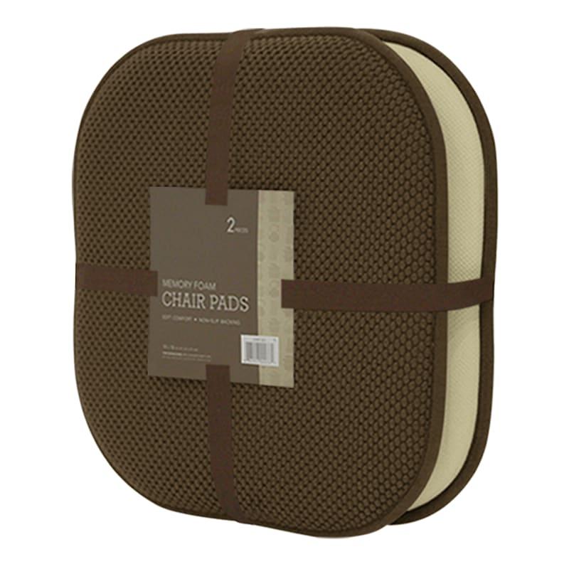 16X16 Brown Memory Foam 2-Pack Chair/Anti Skid Backing