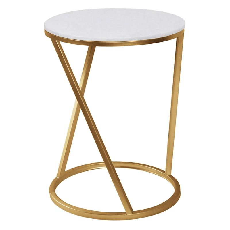 Quartz/Gold Metal Accent Table, Small