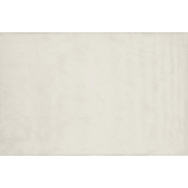 (C150) Aspen Ivory Faux Fur Area Rug, 3x5