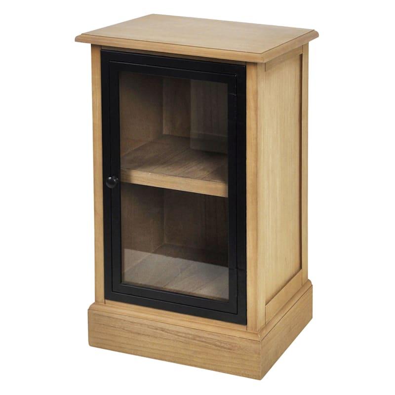 1 Door Glass Pane Wood Cabinet