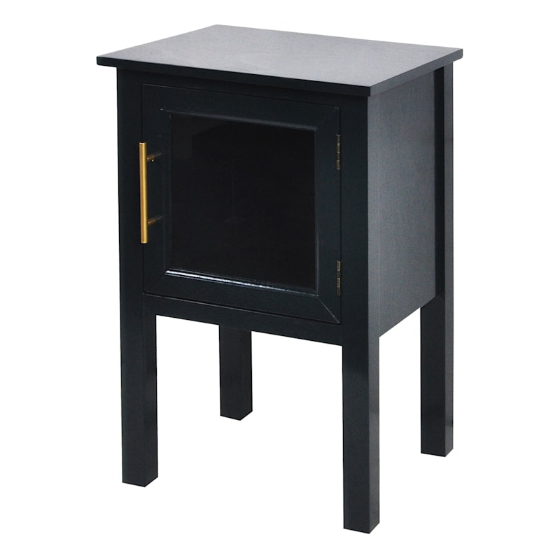 Black 1 Door Glass Pane Accent Cabinet