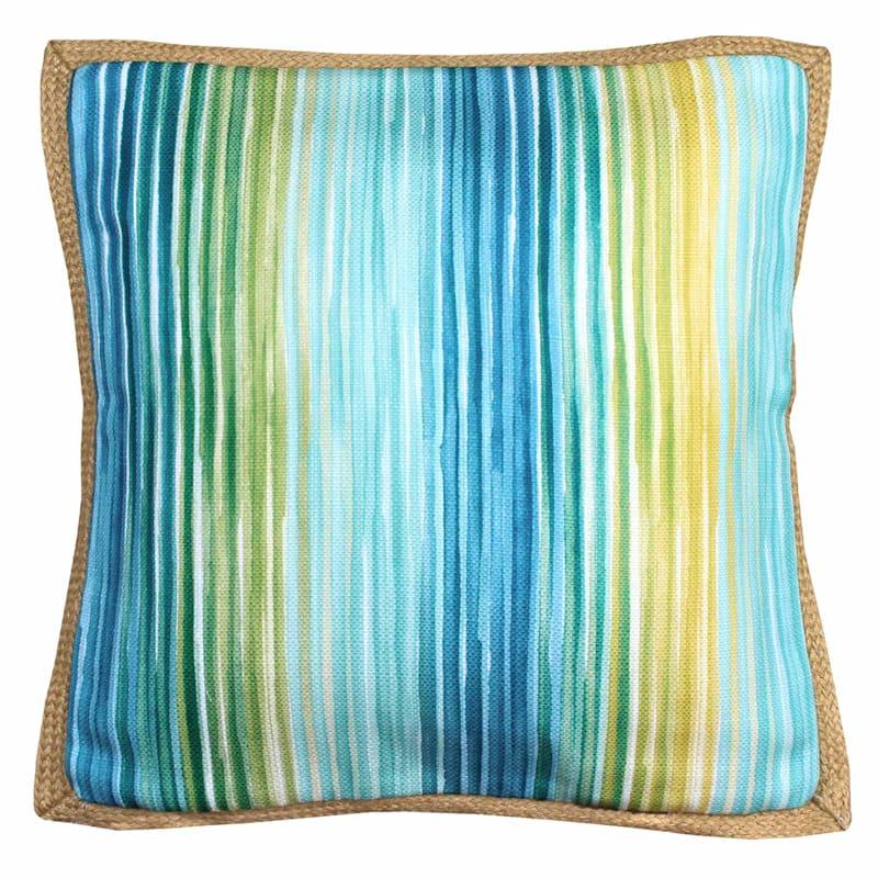 Blue Stripe Woven Pillow 18X18
