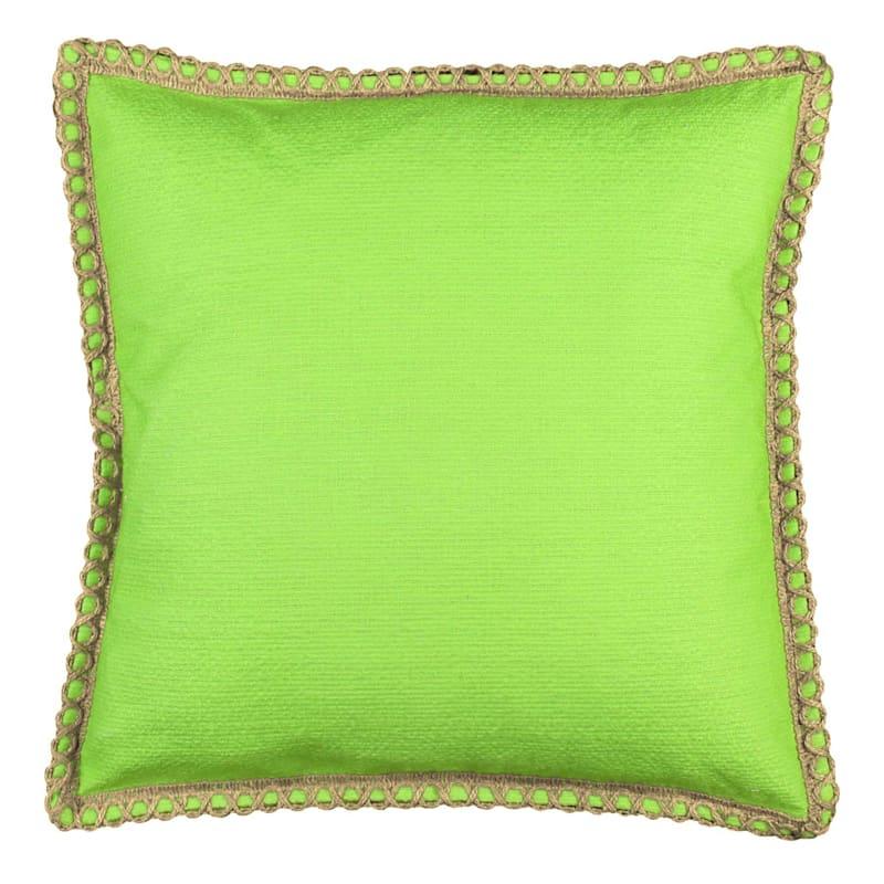 Green Solid Jute Trim Pillow 18X18