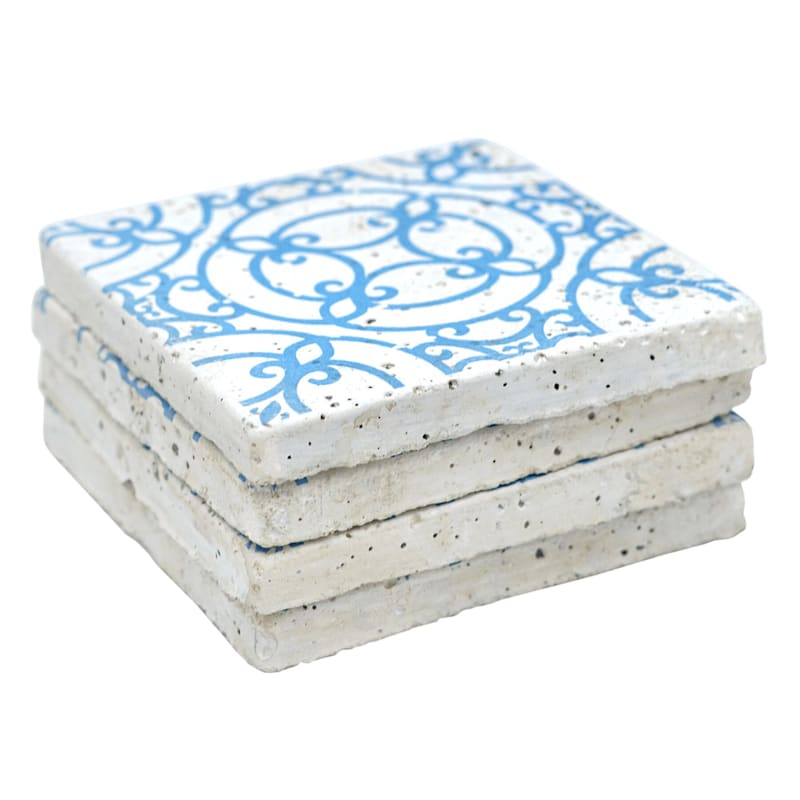 Set Of Four 4 X0.5 Cement Blue Square Coasters