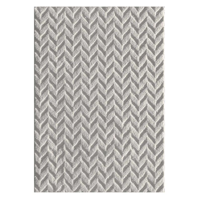 D398 Weldon Herringbone Rug, 5' x 7', Light Grey
