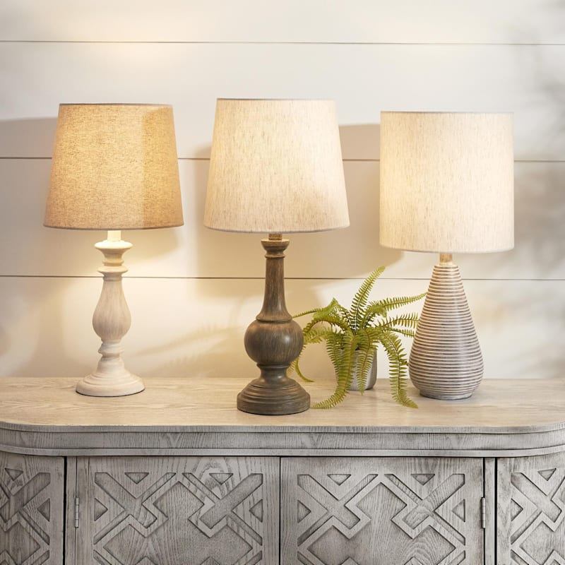 22in. Grey Accent Lamp/Fabric Shade