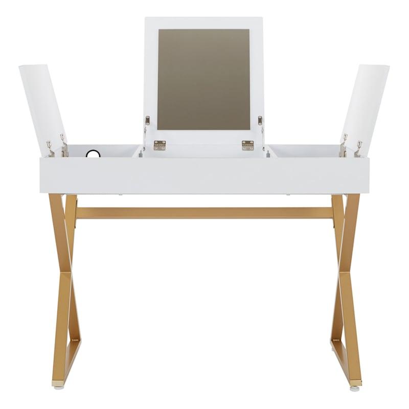 White Vanity Storage Desk with Mirror