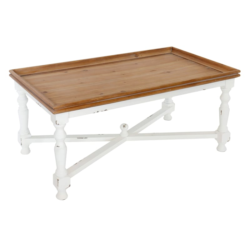 Natural Wood Top With White Wood Base Coffee Table