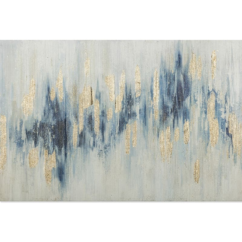 36x24 Blue White Glitter Abstract Canvas Art At Home