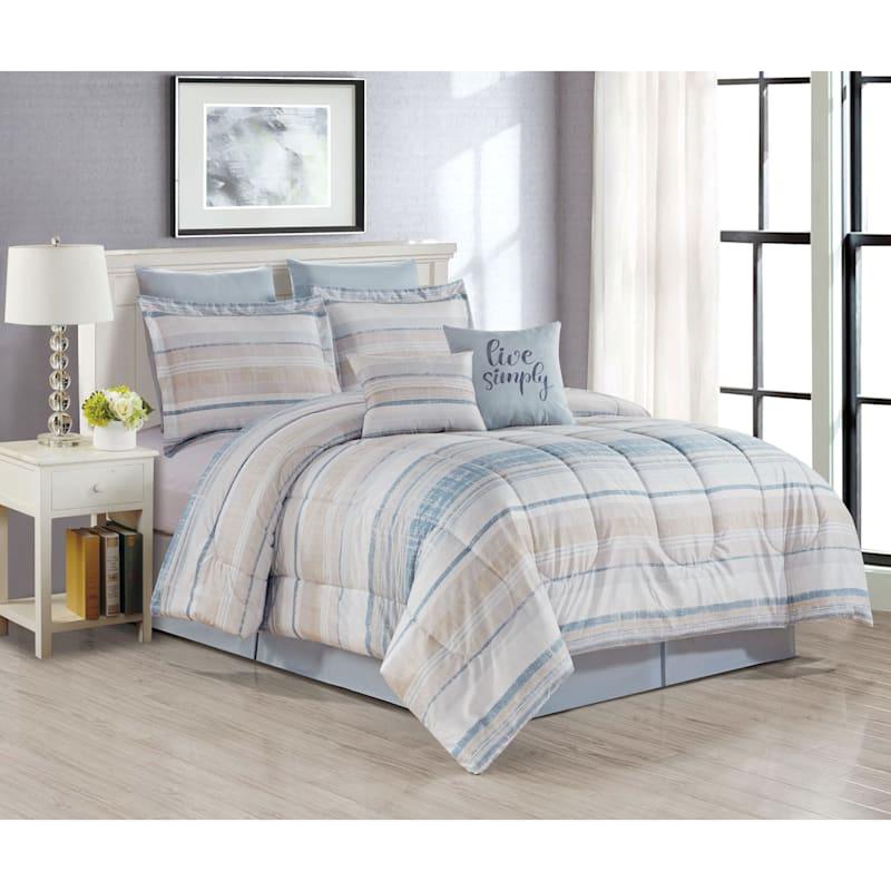 Roxy 8-Piece Striped Comforter Set, Queen