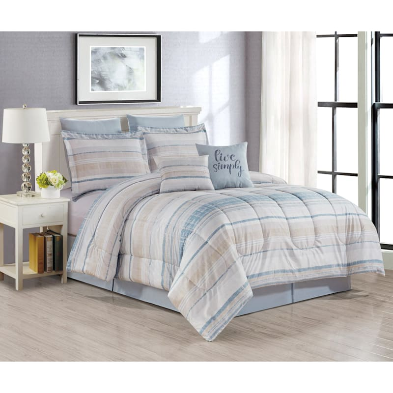 Roxy 8-Piece Striped Comforter Set, King