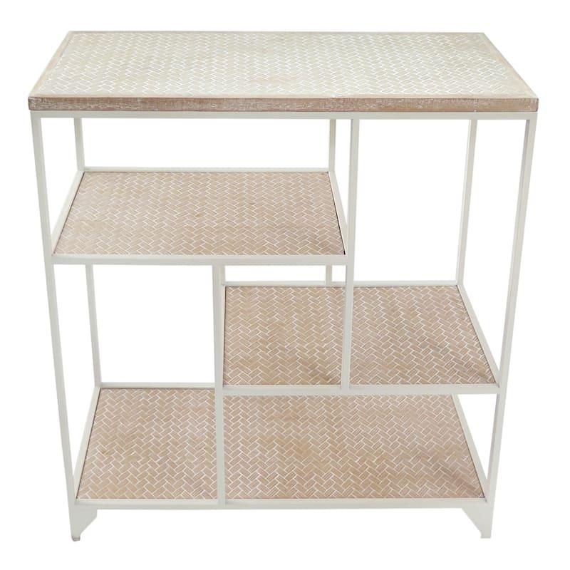 Asymmetrical 4 Tier Wood Shelf With White Metal Frame