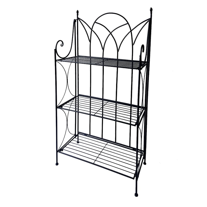 Black 3 Tier Gothic Baker Rack With Metal Wire Shelves
