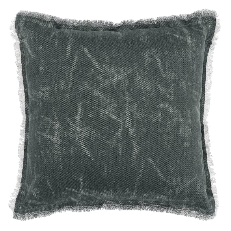 Deep Green Solid Pillow With Frayed Edges 20X20