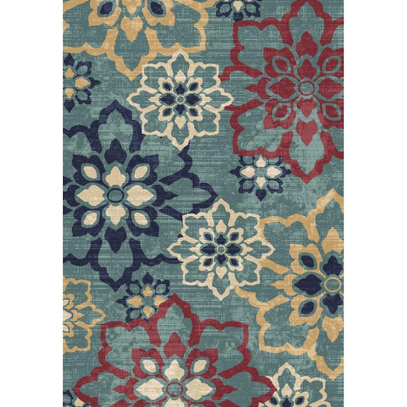 (D462) Floral Blue Woven Area Rug, 7x9