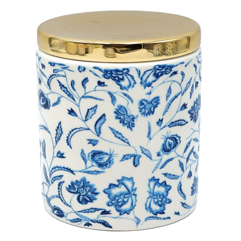 4.8in. Blue White Floral Patterned Cylinder Box W/Gold Lid