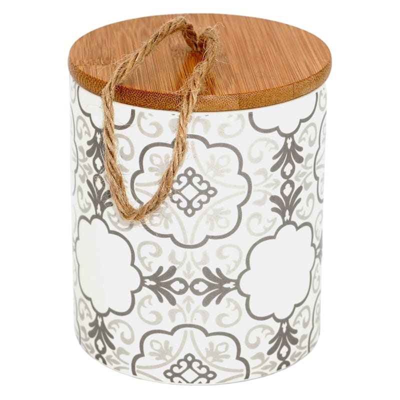 4.5In Ceramic Canister/Bamboo Lid