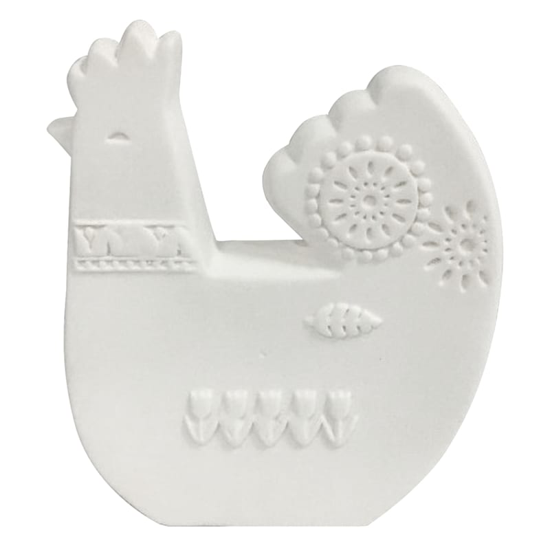 3X4 White Porcelain Rooster