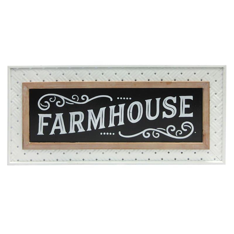 Farmhouse Wood & Metal Sign, 28X13