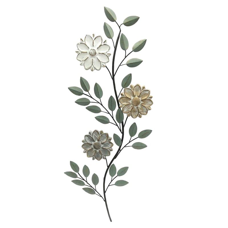 "Wood Metal Flower Wall Decor, 15"""