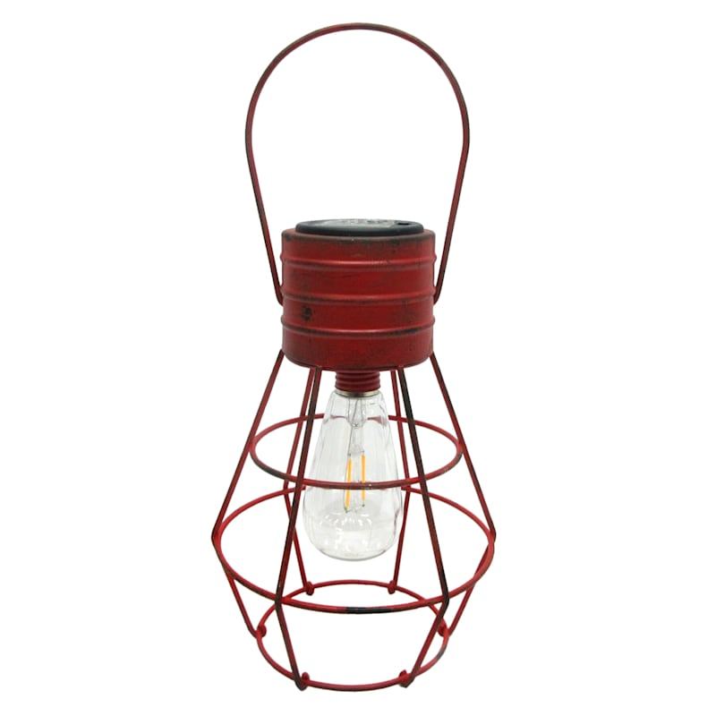Metal Wire Hanging Farmhouse Lantern/Edison Shape Light Bulb