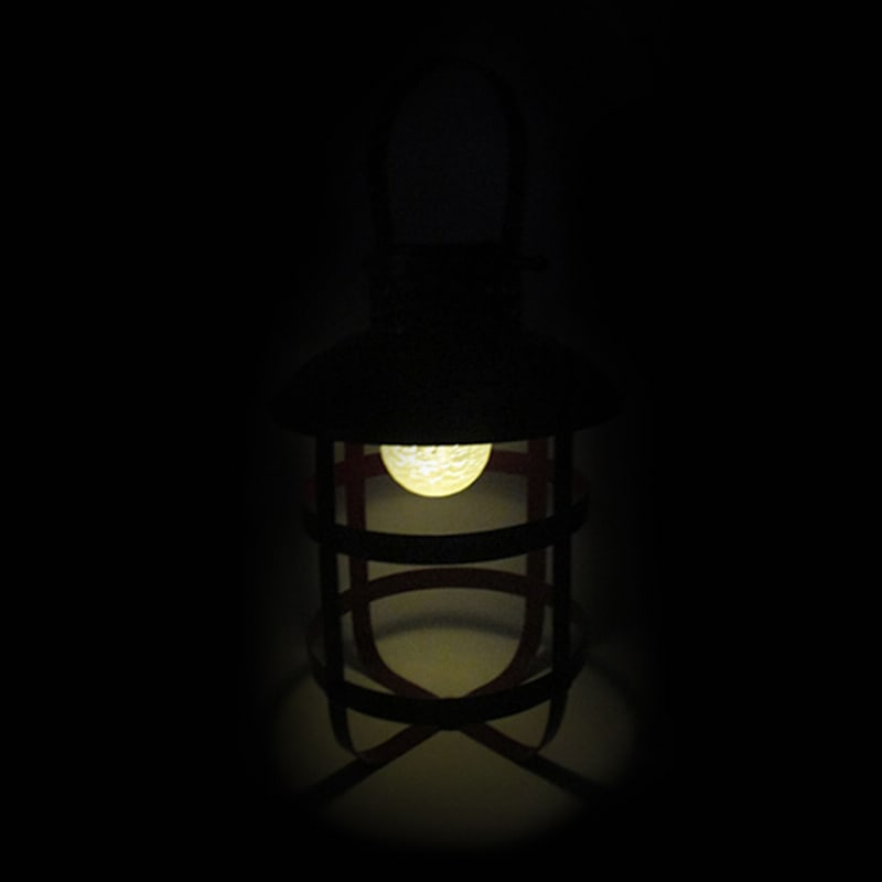 Metal Lantern/Frosted Glass Ball/Led Light/Solar Panel On Top