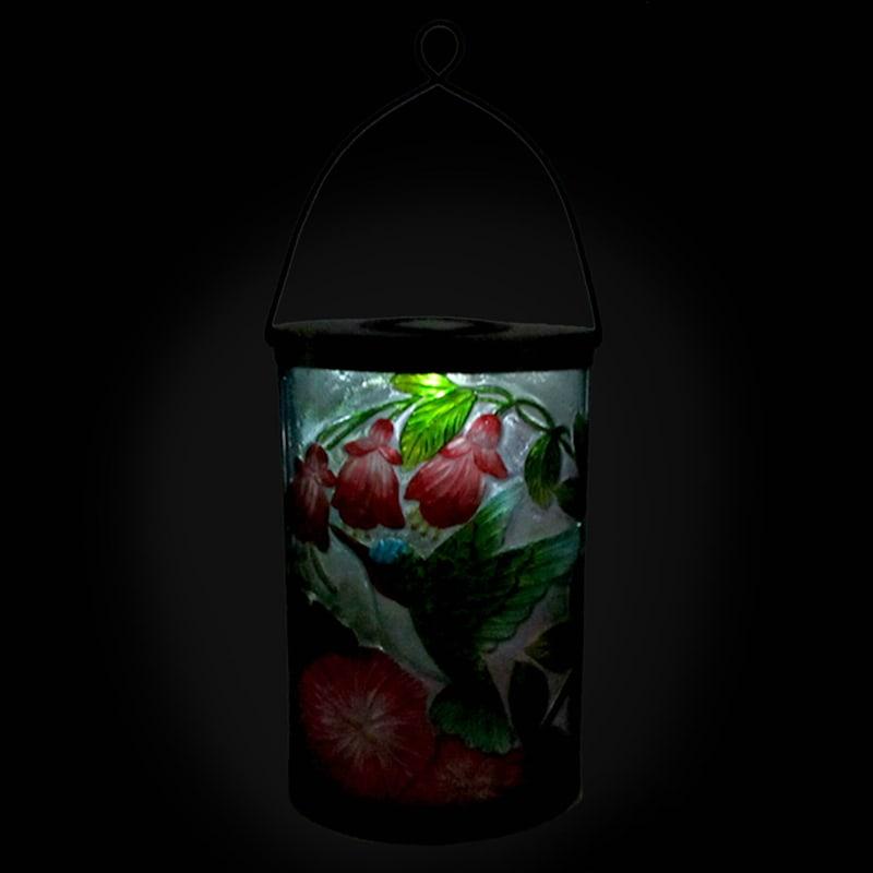 Metal Fused Glass Oval Lantern/Hummingbird/Flowers Patterned Glass