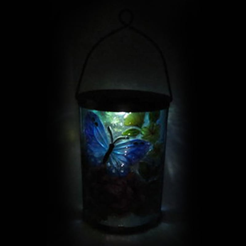 Metal Fused Glass Oval Lantern/Butterfly/Flowers Patterned Glass