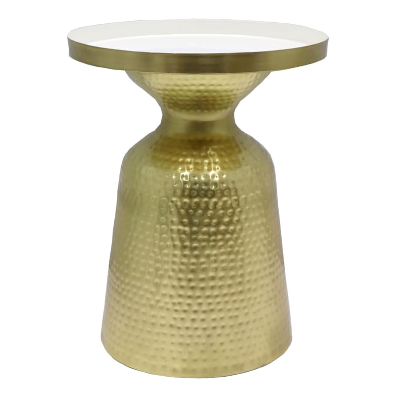 Brass Hammered Side Table With Enamel Top
