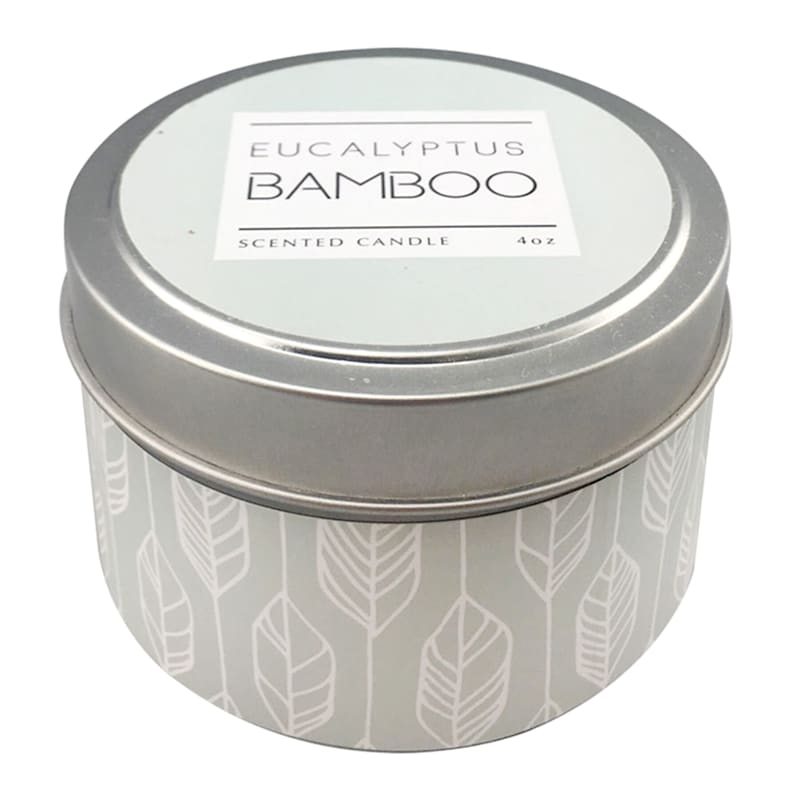 3oz Tan Eucalyptus Bamboo Candle Tin