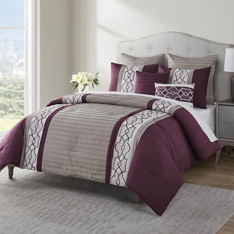 Darryl Plum 7-Piece Embroidered Comforter Set Queen