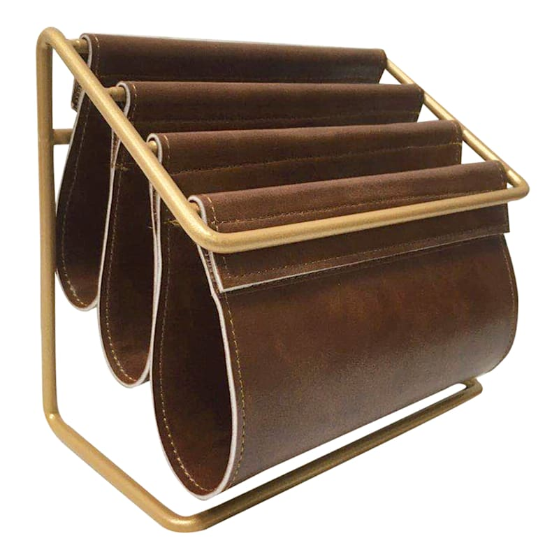 Golden Metal And Brown Faux Leather Letter Sorter