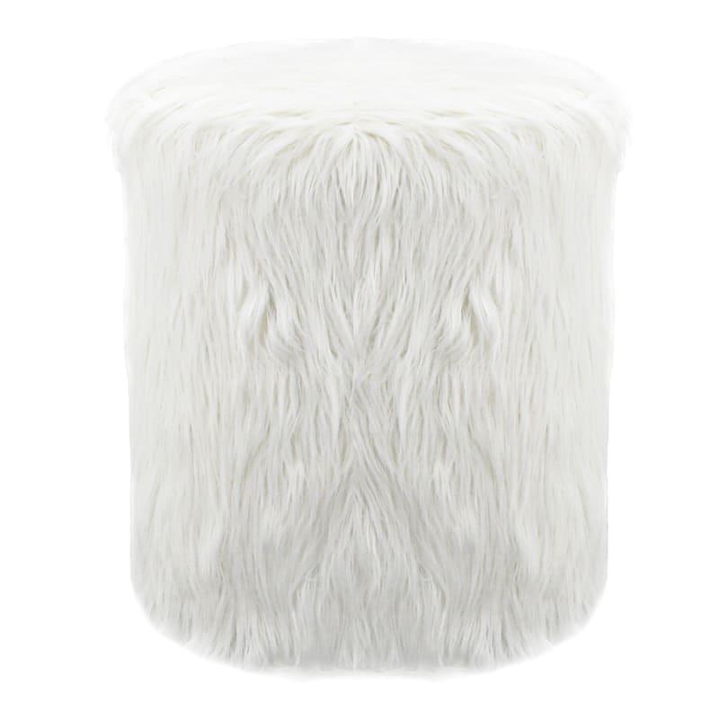 White Faux Fur Round Ottoman