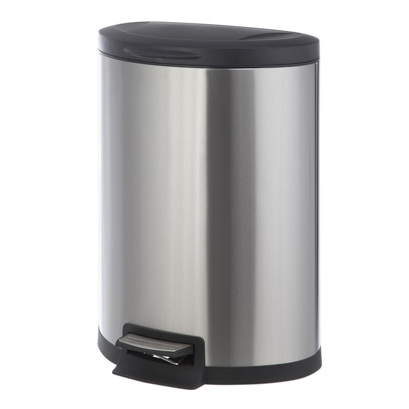 45L Semi Round Pedal Bin Stainless Steel