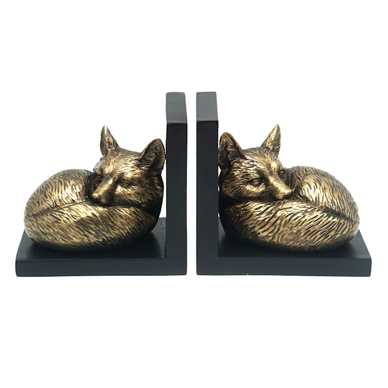 SET OF 2 GLD FOX BOOKEND