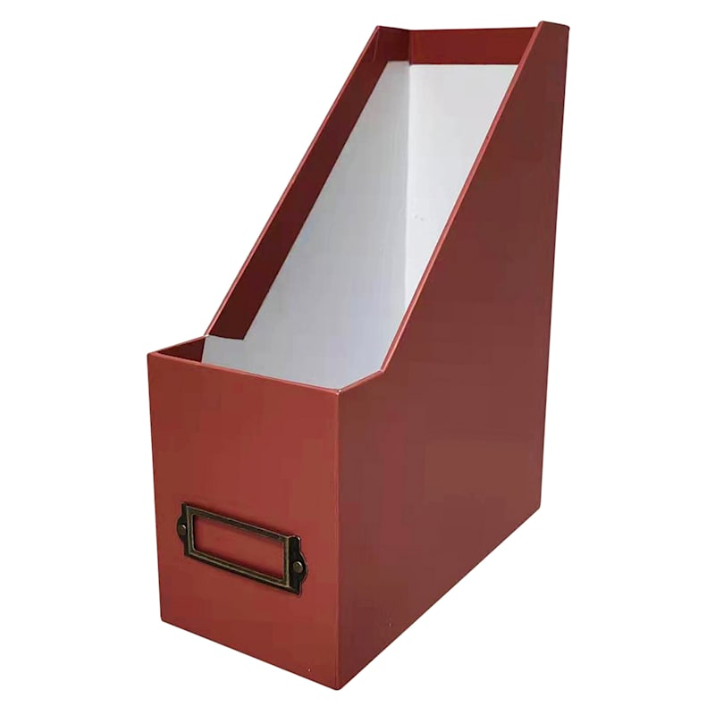Rectangle Paperboard Red Mag Holder Brown Rust