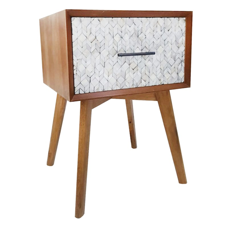 Mother Of Pearl 1 Drawer Nightstand Natural