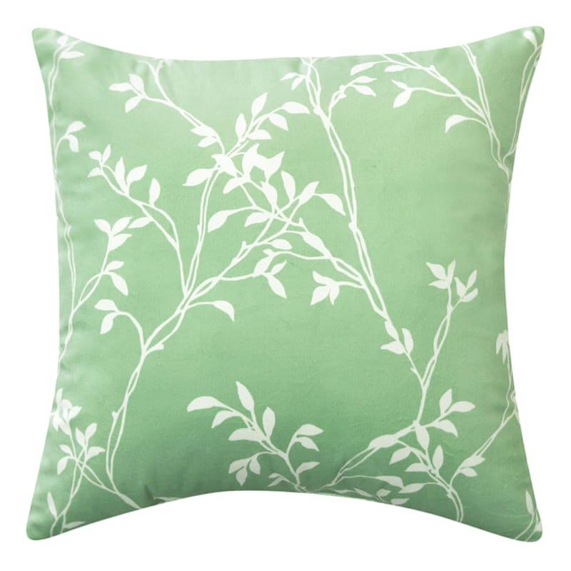 """Grace Mitchell Soft Leaves Print Velvet Throw Pillow, 18"""""""