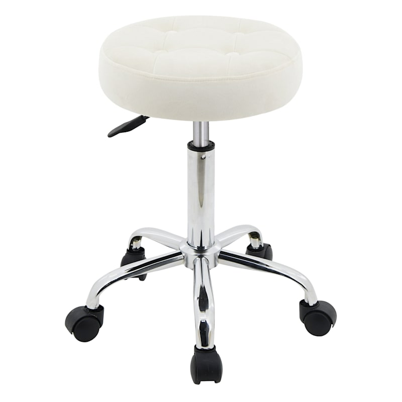 Josie Ivory Velvet Backless Adjustable Office Stool