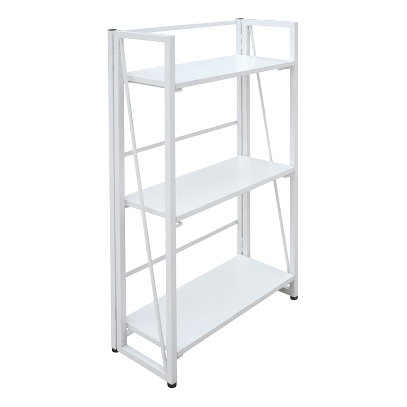 Vienna 3-Tier White Folding Bookshelf
