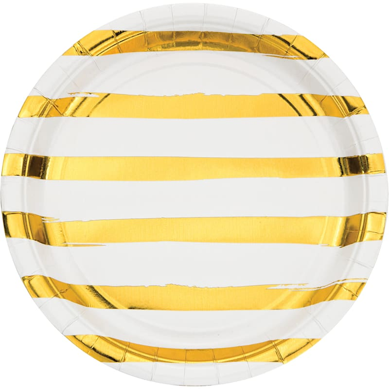 8-Count Gold Foil Striped Dinner Plates