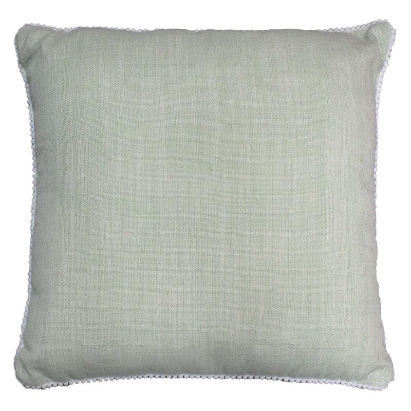 "Grace Mitchell Green Woven Pom Throw Pillow, 18"""