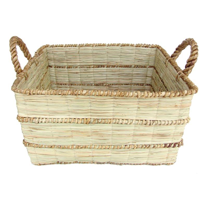 Mendong Water Hyacinth Rectangle Natural Medium Basket